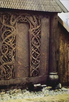 Wooden Door of the Stave Kirke at URNES, Norway Date: 1050-1070 This beautiful ornate wooden door demonstrates that by the 11th century Scandinavia had become a Christian society but some viking traditions remained such as the intertwining animals and forest in this church door.