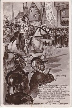 Joan of Arc Jeanne D'Arcon horse soldiers French postcard 1910's