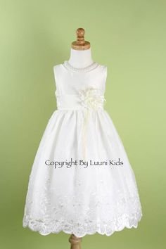 Flower Girl Dress - IVORY Organza Embroidered Dress - Easter, Junior Bridesmaid, Wedding - From Toddler to Teen (FGOE)