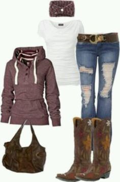 ideas for cowgirl boats outfit winter jeans country girls purses Mode Country, Country Look, Estilo Country, Country Girl Style, Country Fashion, Country Casual, Country Fall, Country Apparel, Country Girl Boots