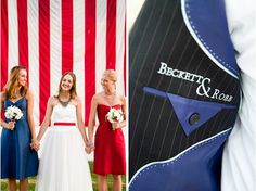 red, white, and blue patriotic military wedding