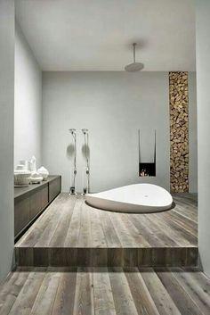 Salle de bain - mur bois