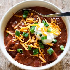 A big pot of Steak Chili and all the fixins!