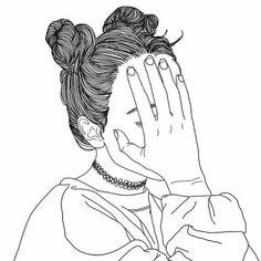 noir, dessin, fille, grunge, Tumblr, blanc