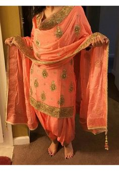 Buy orange pepar silk unstitched salwar suit Online for women at ₹ 999 from our wide range of salwar suit collection at our one stop shop @Kavyashopping.com. We provide all kind of women ethnic clothing at ✓ reasonable prices. ✓ Worldwide Shipping Indian Suits, Indian Attire, Indian Dresses, Indian Clothes, Patiala Salwar Suits, Salwar Suits Party Wear, Sharara Suit, Churidar, Designer Punjabi Suits