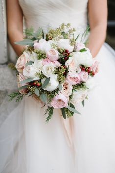 Elegant Winter Wedding Bouquet by Holly Chapple   Ashlee Virginia Events by Natalie Franke Photography