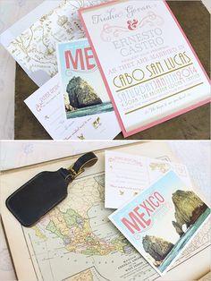 Super cute and totally customizable destination wedding invitations. #weddinginvitations #destinationwedding #weddingchicks Stationery Design: Serendipity Beyond Design ---> http://shop.serendipitybeyonddesign.com/