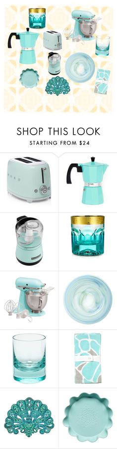"""""""Turquoise Kitchen"""" by jeanannvk ❤ liked on Polyvore featuring interior, interiors, interior design, home, home decor, interior decorating, Crate and Barrel, KitchenAid, Forzieri and Moser"""