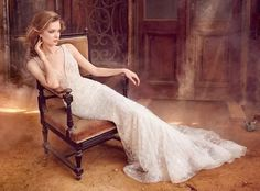 mermaid lace wedding dress with plunging sweetheart neckline