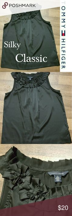 Tommy Hilfiger women's silky pleated neck cami Classic chic. Size Medium. Gorgeous pleated neckline with gorgeous roses. Excellent like new condition. Perfect top to give that extra pop to any outfit. Tommy Hilfiger Tops