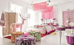 Glamorous Girl Bedroom...Discover more decor and organizing ideas for babies to teens @ http://kidsroomdecorating.net