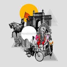 Indian Illustration, City Illustration, Graphic Design Illustration, Attractive Wallpapers, Wall Collage Decor, Architecture Concept Diagram, Mumbai City, Shiva Art, Truck Art