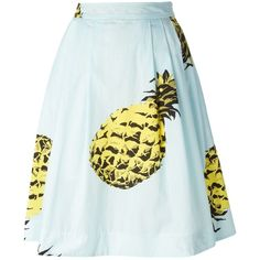 MSGM pineapple print midi skirt ($270) ❤ liked on Polyvore featuring skirts, bottoms, blue, blue cotton skirt, pineapple skirt, blue skirt, calf length skirts and blue high waisted skirt