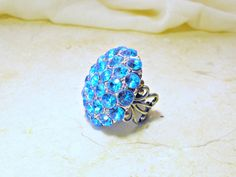 Ocean Blue Crystal Cluster Ring - Vintage Estate Rhinestone Cocktail Ring In Silver, ClassicKeepsakes on etsy - so beautiful