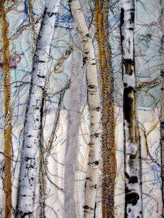 Fiber Art Quilt Woodland Winter Pine Art Quilt by SallyManke by aurora
