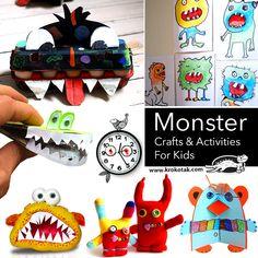 Monster Crafts & Activities For Kids Halloween Crafts For Kids, Easy Crafts For Kids, Craft Activities For Kids, Diy And Crafts, Paper Crafts, Craft Desk, Art N Craft, Art Lessons For Kids, Art For Kids
