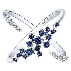 14k White Gold Diamond  And Sapphire Fashion