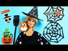 4 Easy No-Sew Barbie Doll Halloween Costumes Tutorial - Easy Barbie Clothes: 4 DIY No Sew Halloween Doll Costumes - Witch, Tinker Bell, Pebbles, Queen Bee: o. Diy Disfraces, Halloween Disfraces, Easy Crafts For Kids, Crafts To Make, Barbie Clothes, Barbie Dolls, Costume Tutorial, Craft Free, Polly Pocket