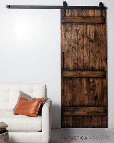 Bring old world decor and farmhouse style into your home with the Arrow Sliding Barn Door Hardware Kit. Salvaged Doors, Rustic Doors, Rustic Barn, Wooden Barn, Modern Rustic, Rustic Hardware, Sliding Barn Door Hardware, Sliding Doors, Barn Door Tables