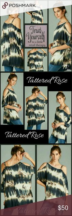 COMING SOON!! Jersey Tunic🍒30%Off Bundles🍒 MADE IN THE USA!!! Love these colors of grays and tans! Super cool Jersey print open shoulder high lo tunic. Great anytime! Sewn with love made with 93%Rayon sand 7% Spandex.  💕If you LIKE MY THINGS, please FOLLOW ME to see new ARRIVALS. Tattered Rose Tops
