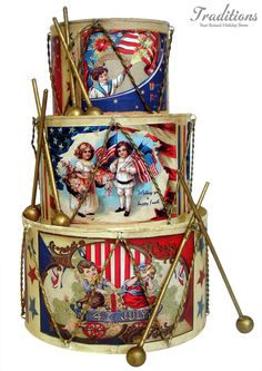 November 28 - International Drum Month - How did we not know this? Joey's drums on Friends spring to mind. Happy 4 Of July, Fourth Of July, Twelve Days Of Christmas, Magical Christmas, Christmas Trees, 4th Of July Decorations, Holiday Decorations, Vintage Drums, Bethany Lowe