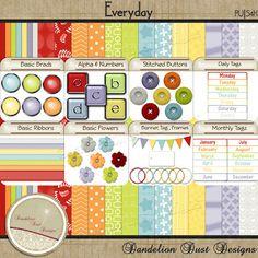 Digital Scrapbooking Everyday Kit #DandelionDustDesigns #DigitalScrapbooking