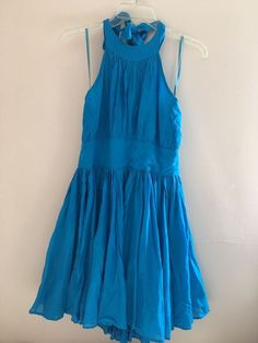 Blue Turquoise Halter Summer Dress Moda International Pinup Cotton Beach Size 10 #ModaInternational #HalterSundress #Casual