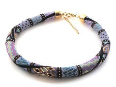 """""""Amira"""" - in translation from Arabic """"princess.""""  This Bead Crochet Necklace is made of Japanese seed beads"""