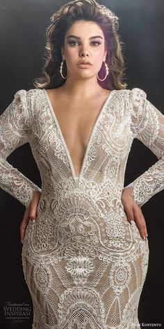 dror kontento 2019 bridal illusion long puff sleeves plunging v neckline fully embellished lace fit flare mermaid wedding dress chapel train zv -- Dror Kontento 2019 Plus Size Wedding Dresses Plus Size Wedding Gowns, Plus Size Dresses, Classic Wedding Dress, Dream Wedding Dresses, Curvy Bride, Curvy Dress, Glamorous Wedding, The Dress, Dress Collection