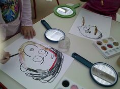 LOVE this idea-first have children draw a self portrait ...Next add a mirror and have them draw another self portrait using mirrors....(I'd love to see the differences ;-) This teacher added another element of paints...