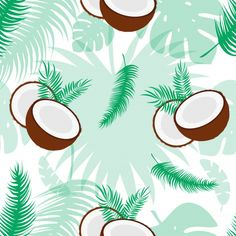 Seamless pattern with coconuts. Tropical abstract background in retro style. Easy to use for backdrop, textile, wrapping paper, wall posters. Flower Wallpaper, Iphone Wallpaper, Royal Clan, Food Cart Design, Doodle Quotes, Organic Coconut Milk, Poster Wall, Abstract Backgrounds, Graphic Illustration