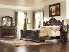 """The """"Wendlowe"""" King Bedroom Set flawlessly captures the beauty and craftsmanship of Old World design with the rich dark cherry finish flowing over the ornate . King Bedroom Sets, Creative Bedroom, Ashley Furniture, Furniture Deals, Platform Bed Designs, Cheap Bedroom Sets, Furniture, King Bedroom Furniture, Bedroom Furniture"""