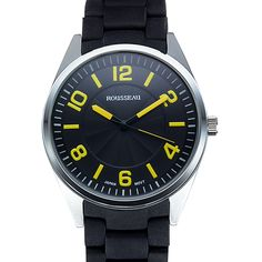 Rousseau Men's Armand Silicone Coated Link Watch (/Yellow)