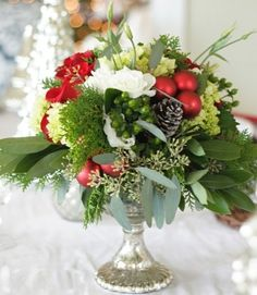 Blumen Gestecke Weihnachten selber machen