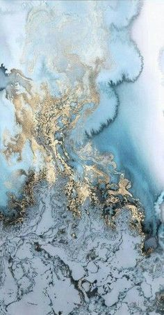 Blue alcohol ink and gold leaf abstract painting More