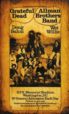 rateful Dead, Allman Brothers Band, Doug Sahm, Wet Willie  June 9 & 10, 1973, R.F.K. Memorial Stadium