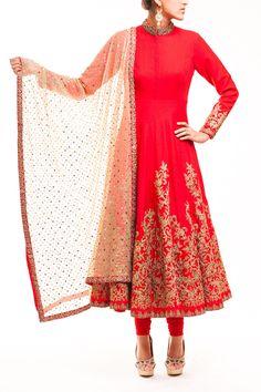 Red High Neck French Silk Bridal Anarkali - waliajoness - 1
