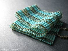 Turquoise Reed Cuff. Beaded Bugle Stripe Bracelet in Blue and Brown   SagesCupboard - Egyptian Jewelry