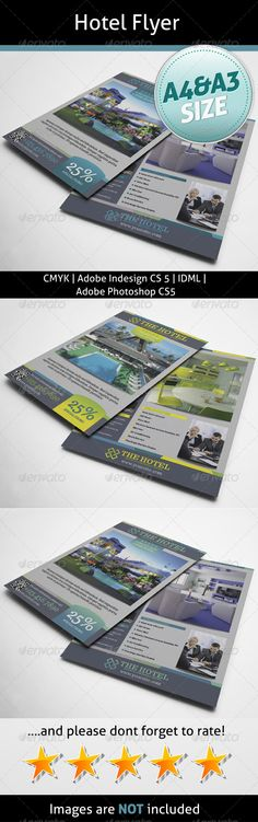 Hotel Flyer  #GraphicRiver         A4 8.2677×11.6929  	 A3 11.6929×16.5354  	 Bleed 5 mm  	 InDesign CS5  	 Idml  	 Photoshop CS5  	 300dpi  	 CMYK  	 Trocchi:  .fontsquirrel /fonts/trocchi  	 Info file included  	 Images are not included     Created: 19September13 GraphicsFilesIncluded: PhotoshopPSD #JPGImage #InDesignINDD Layered: Yes MinimumAdobeCSVersion: CS4 PrintDimensions: 8.2677x11.6929 Tags: ad #advertising #black #business #colorful #flyer #fresh #hotel #indesignmagazine #interior…
