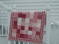 Clara's Quilt tutorial by Moda Bake Shop made with 2 charm packs cute scrappy baby quilt