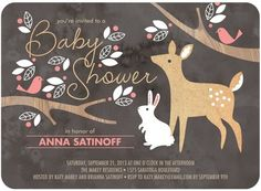 Baby Shower Invitations Woodland Wishes - Front : Posies