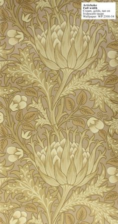 William Morris reproduction wallpaper: Artichoke. Designed by J.H. Dearle in 1898