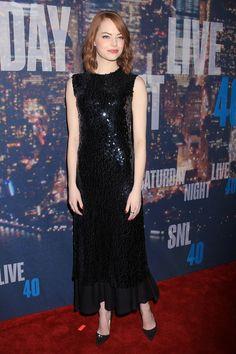 Emma Stone Wearing Dior at Saturday Night Live 40th Anniversary Celebration in New York City