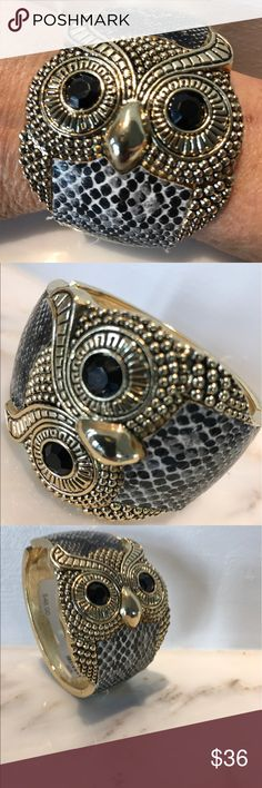 """HP Best in Jewelry! Owl Bracelet Easy hinged opening.  Faux snakeskin & black crystal eyes.  The face of the owl is about 2"""" big.  The back of the bracelet is smaller & measures 1.25"""" wide. Jewelry Bracelets"""