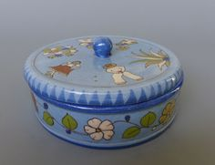 "Old vintage Mexican Tlaquepaque lidded bowl w/charming graphics 6 1/8"" diam."