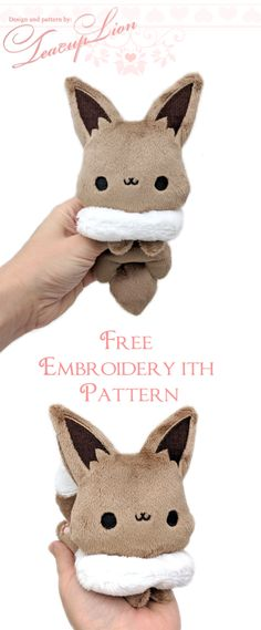 Free Eevee Plushie sewing patterns and ITH machine embroidery patterns - Free E. - Free Eevee Plushie sewing patterns and ITH machine embroidery patterns – Free Eevee Plushie sewing patterns and ITH machine embroidery patterns, – Plushie Patterns, Animal Sewing Patterns, Sewing Patterns Free, Free Sewing, Free Pattern, Pattern Fabric, Softie Pattern, Machine Embroidery Projects, Machine Embroidery Patterns
