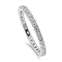 .925 Sterling Silver Eternity Simulated Diamond Wedding Band 2mm