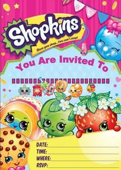 BLANK Shopkins Invitations Birthday Party (Blank) X 10 With Envelopes
