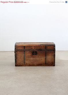 Antique Trunk / Wood And Metal Trunk