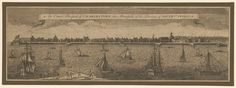1 print : etching and engraving ; 17 x 51.8 cm (image), 19.4 x 54.2 (sheet)   Print shows a view of the waterfront at Charleston harbor, Charleston, South Carolina, with several ships and small boats in the harbor and men, some with fishing nets, standing on a bit of land in the lower left foreground. Buildings and wharves line the waterfront, with a fort (A) on the left and another fort (H) on the right, both under the British flag; prominent features/buildings are keyed by letter, A-H…